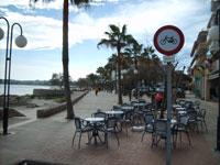 Cafe in Cala Millor at the Sea
